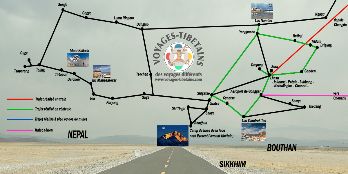 carte tibet circuit namtso bains shigatse